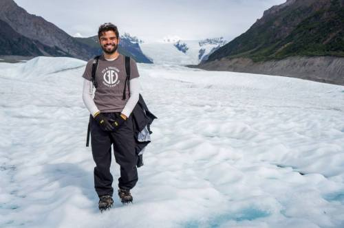 Researcher Denis Felikson on a glacier in Alaska.