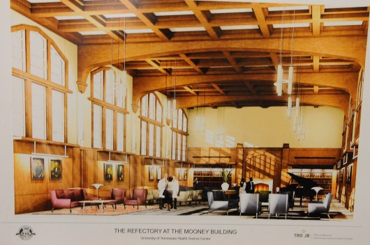 This rendering shows the refectory space  in the renovated Mooney Building.
