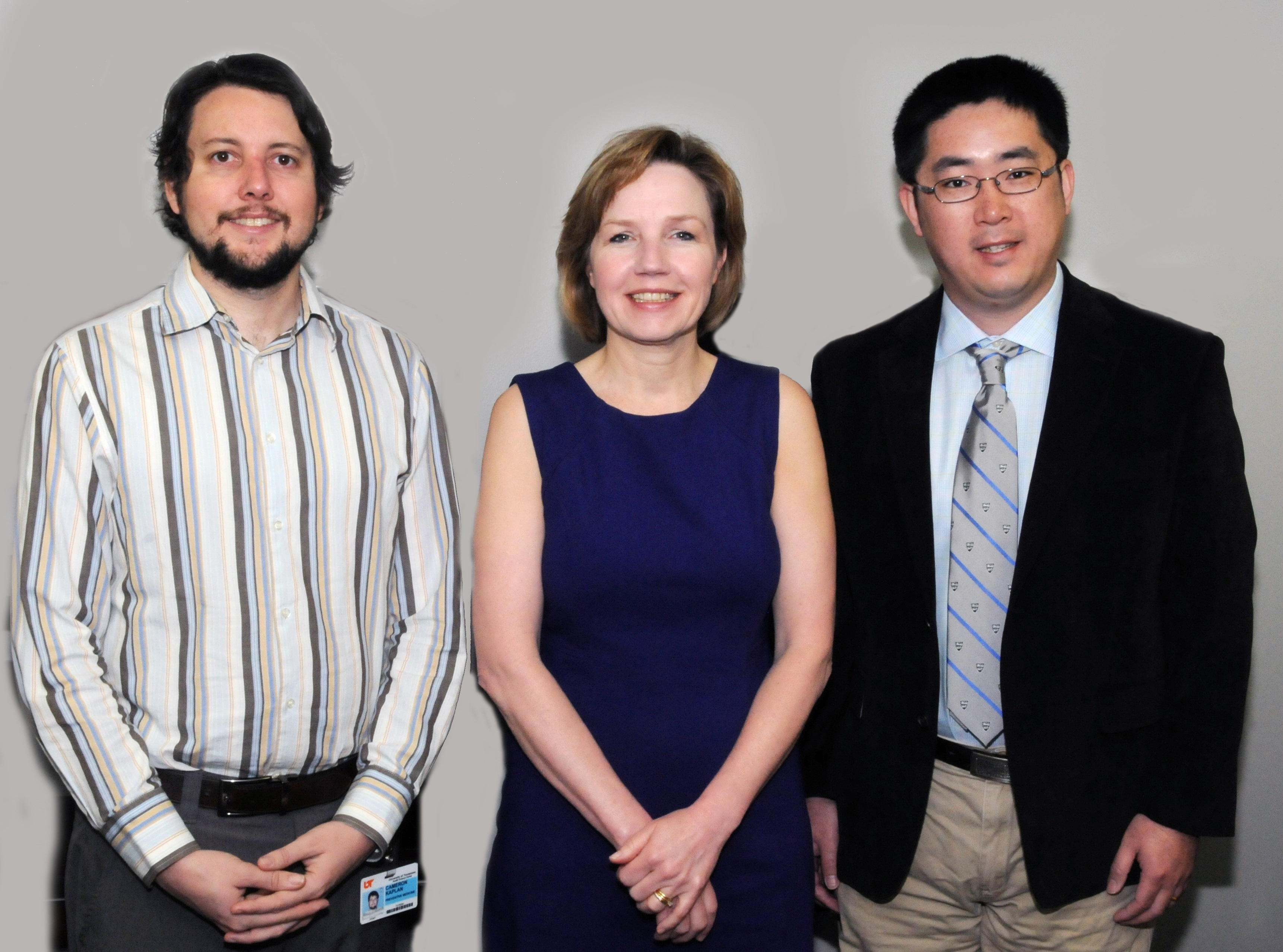 A $749,998 grant from the Agency for Health Care Research and Quality will allow Dr. Teresa Waters, pictured with team members Dr. Cameron Kaplan (left) and Dr. Tao Li, to examine the effects of Medicare hospital readmission policies.