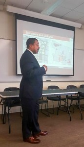 Dr. Ken Brown addresses a session of the International Town & Gown Association earlier this week.