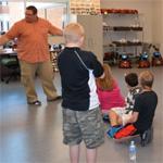 Students exploring the robotics lab.