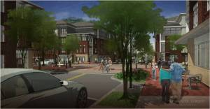 This conceptual rendering shows the character of the proposed redevelopment. Image courtesy of Lord Aeck Sargent (LAS)