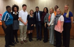 From left to right: Erika Morris, Destini Long, Andrew Pankratz, Courtney Bowditch, Inky Johnson, Dani Polk, Debbie Mackey, Vincent Johnson, Whitely Rowlett, and Lizzy Van Dyke.