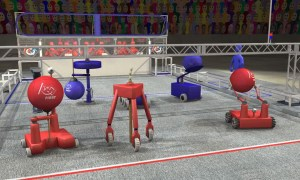 This image shows what a game of FIRST Robotics' Aerial Assist, a football-like game played by robots, might look like.