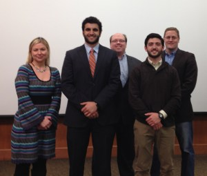 From left to right are Myra Hamilton, UT Federal Credit Union; Christopher Saah; David Morehous; Dave Seeman; and Dave Williams, UT Anderson Center.