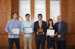 From left, winners Ayron Hall, Zach Lee, Christopher Saah, and Andrea Hayes with Tom Graves, director of operations for the Anderson Center.