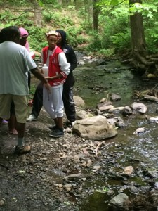 Students from Malcolm X Shabazz High School in Newark, New Jersey, work on the UT water enzyme project.