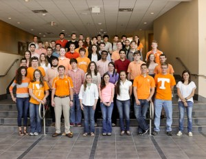 UT engineering students who are taking part in summer internships at Oak Ridge National Laboratory gather together, more than 60 in all.