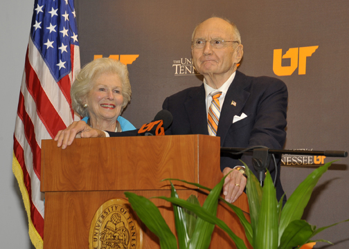 Natalie and Jim Haslam during the announcement of the Haslam family's $50 million gift to UT.