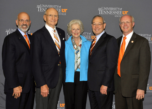 Pictured from left: UT System President Dr. Joe DiPietro, Jim Haslam, Natalie Haslam, UT Knoxville Chancellor Jimmy G. Cheek, College of Business Dean Steve Mangum.