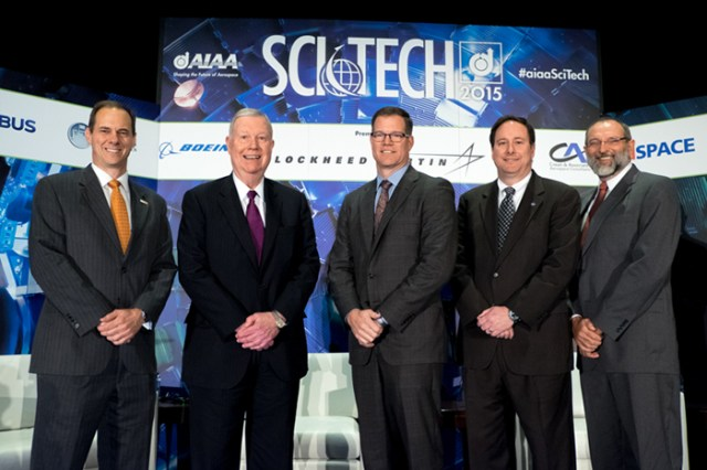 From left to right: Andy White, director of the UT Aerospace and Defense Business Institute; Bobby Smart, deputy assistant secretary of the Air Force for acquisition integration; Jeff Babione, vice president and deputy general manager of the Joint Strike Fighter program for Lockheed Martin aeronautics; Robert Lightfoot, associate administrator at NASA; and Alex Miller, Stokely Professor of Management in theHaslam College of Business. Photo courtesy of AIAA.