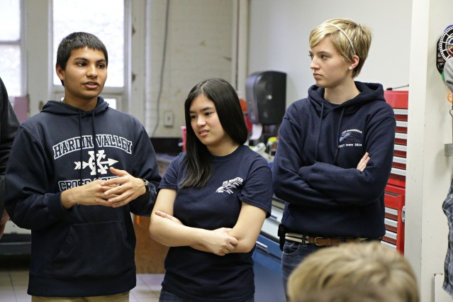 Members of the robotics team from Hardin Valley Academy talk about their plans.