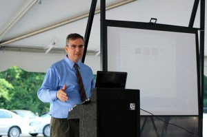 Thanos Papanicolaou speaks during the opening of the Hydraulics and Sedimentation Laboratory.