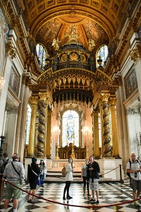 Inside Saint Paul's Cathedral in London.