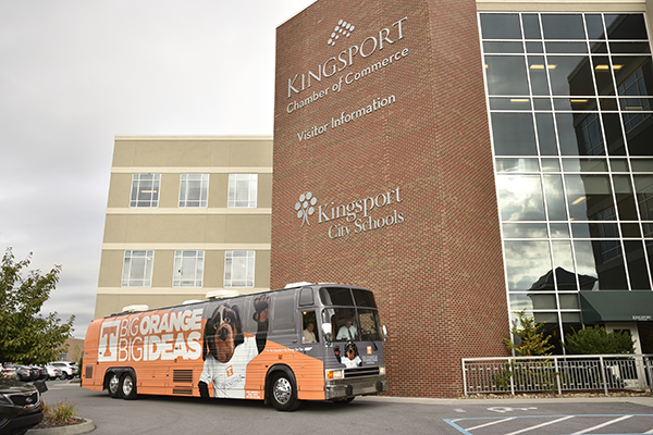 The bus makes a stop at the Kingsport Chamber of Commerce.