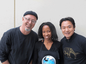 Printmaking faculty, from left to right, Beauvais Lyons, Althea Murphy-Price, and Koichi Yamamoto.