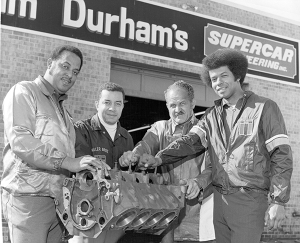 Malcolm Durham, Leonard W. Miller, Wendell Scott, and Ronald Hines, left to right, of the Black American Racers Association. (Creative Commons)