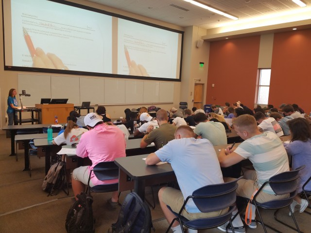 Incoming freshmen in Math Camp attend a morning lecture.