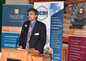 Governor's Chair in Advanced Composites Manufacturing Uday Vaidya addresses guests at the grand opening of the Fibers and Composites Manufacturing Facility and Engineering Annex.