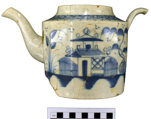 A 1790s pearlware teapot with a Chinese design unearthed from United States Indian Agent for the Southwest Territory David Henley's office in downtown Knoxville.