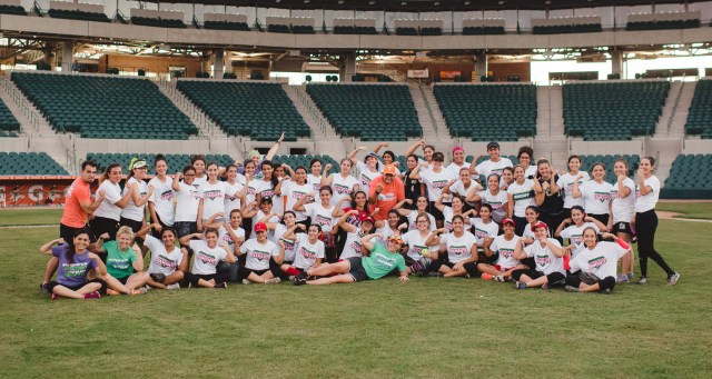 Participants in the CSPS softball clinic in Mexico.