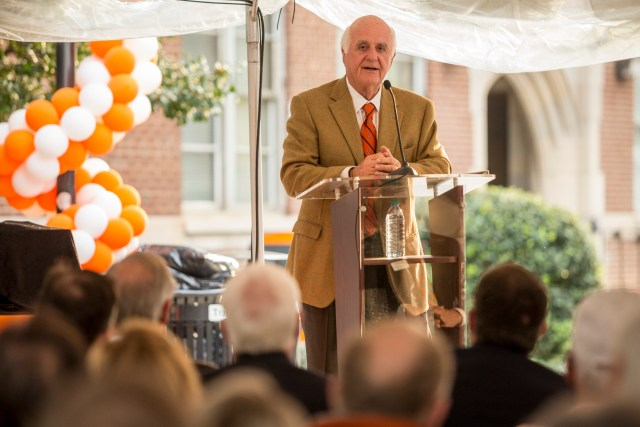 John D. Tickle delivers remarks on Thursday, Nov. 3, during a celebration of the naming of the Tickle College of Engineering in his honor.