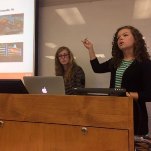 Students from the Research Group present their portion of the strategic marketing plan to Rachel Baker, Director of Loudon County Visitors Bureau.