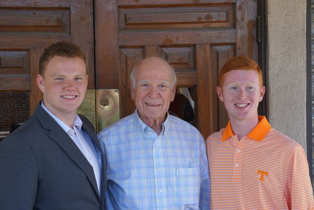 Melvin Sturm, middle, stands with UT students Joseph Perkins, left, a Jellico High School graduate, and Andrew Primm, a Campbell County High School graduate. Perkins and Primm are two of the recipients of a scholarship Sturm and his siblings give annually to students from Campbell County in memory of their parents.