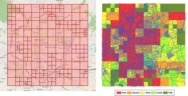 Grid cells for disaster mapping (left) and cells prioritized using color codes (right).