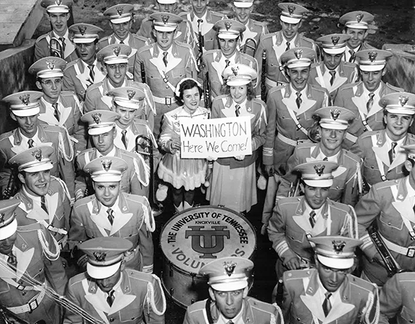 The Pride of the Southland Band prepares to march in the inauguration parade for President Dwight Eisenhower in 1953.