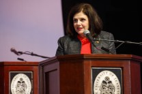 UT Knoxville Chancellor Beverly Davenport welcomes honorees and guests to the 2017 Chancellor's Honors Banquet.