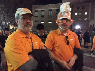 Libraries Dean Steve Smith and James Obear, of Alumni and Development, got in the spirit.