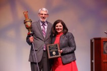 Macebearer Award - Distinguished Professor of Humanities Michael Handelsman and Chancellor Davenport.