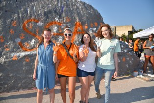 Students stop by The Rock to leave their mark at UT during SGA's Slap the Rock event.