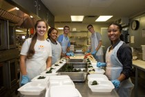 Group of students working in a cafeteria