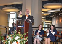 UT President Joe DiPietro gives remarks during the opening ceremony for Strong Hall on Friday, Sept. 8, 2017.