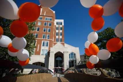The entrance to Strong Hall is adorned with balloons to mark the Join the Journey campaign launch on September 22, 2017. Photo by Steven Bridges