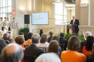 John D. Tickle speaks to attendees of the Join the Journey campaign launch at Strong Hall on September 22, 2017. Photo by Steven Bridges