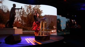Chancellor Beverly Davenport addresses the crowd at the Knoxville Convention Center on Friday evening. Photo by Steven Bridges http://stevenbridges.com