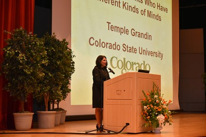 Chancellor Beverly Davenport introduces Temple Grandin at Monday's Mossman Lecture.