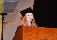 Kerri Ann Considine, a postdoctoral lecturer in UT's Department of English, speak at the graduate hooding ceremony on December 14, 2017.
