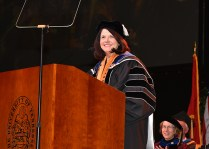 Chancellor Beverly Davenport addresses graduates during the graduate hooding ceremony on December 14, 2017.