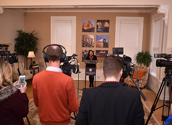 Chancellor Beverly Davenport addresses the media on her first day on campus.