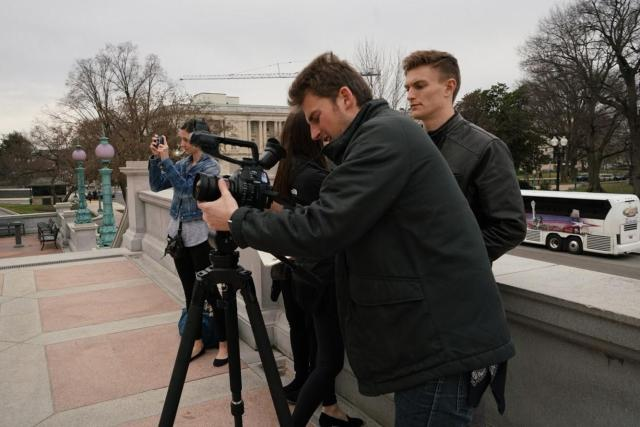 Brock Zych, along with other UT JEM students, outside the Library of Congress.