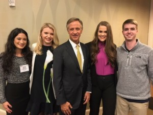 Posing with Gov. Bill Haslam, middle, are JEM students (left to right): Alaina Briones, Savanna Jacoby, Nicole Painter, and William Dowling.