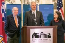 UT's Howard H. Baker Jr. Center for Public Policy today announced its new board members and new programming with remarks from Senator Lamar Alexander of Tennessee, left, UT Chancellor Beverly Davenport, and Baker Center Director Matt Murray, center.