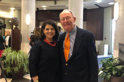 Senator Lamar Alexander and Chancellor Beverly Davenport pose for a photograph at the Baker Center on April 4, 2018.