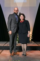 Outstanding students and faculty members are recognized during the Chancellor's Honor Banquet at the Knoxville Convention Center on Tuesday, April 17, 2018. Here is Jered Sprecher, left, winner of the Jefferson Prize, with Chancellor Beverly Davenport, right..Photo by Erik Campos..41234