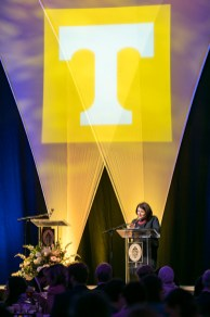 Outstanding students and faculty members are recognized during the Chancellor's Honor Banquet at the Knoxville Convention Center on Tuesday, April 17, 2018. Here is Chancellor Beverly Davenport...Photo by Erik Campos..41234
