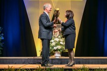 Outstanding students and faculty members are recognized during the Chancellor's Honor Banquet at the Knoxville Convention Center on Tuesday, April 17, 2018.. Here is Macebearer Doug Blaze, left..Photo by Erik Campos..41234